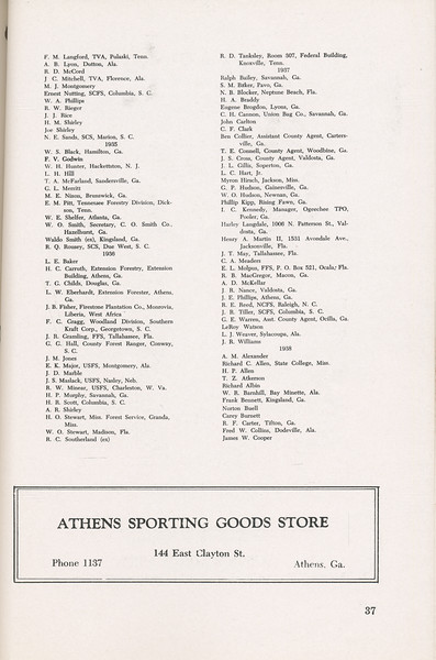 The Cypress Knee, 1946, Alumni Directory, Athens Sporting Goods Store, pg. 37
