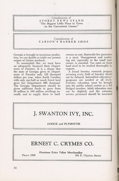 """The Cypress Knee, 1946, """"A Report on the Georgia Forest Survey"""" (continued), Storey News Stand, Carson's Barber Shop, J. Swanton Ivy Inc., Ernest C. Crymes Co., pg. 34"""