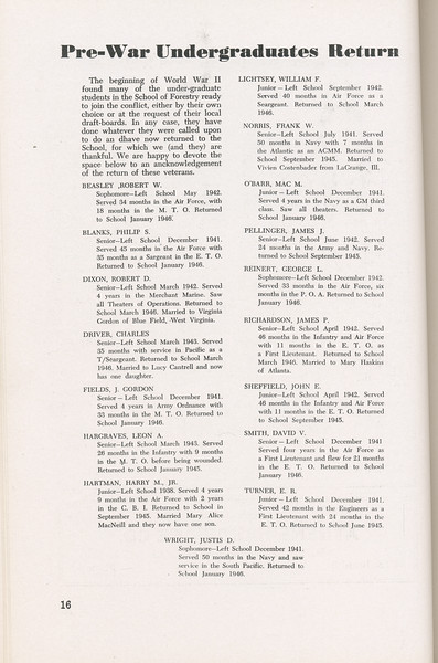 The Cypress Knee, 1946, Pre-War Undergraduates Return, pg. 16