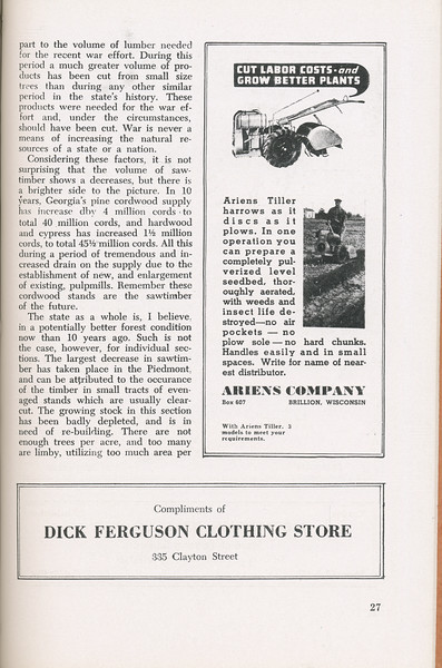 """The Cypress Knee, 1946, """"A Report on the Georgia Forest Survey"""" (continued), B. F. Grant, Arien's Company, Dick Ferguson Clothing Store, pg. 27"""