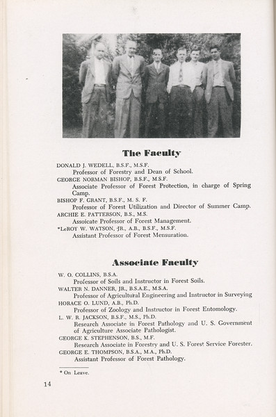 The Cypress Knee, 1946, The Faculty, Associate Faculty, Donald J. Wedell, George Norman Bishop, Bishop F. Grant, Archie E. Patterson, LeRoy W. Watson, W. O. Collins, Walter N. Danner Jr., Horace O. Lund, I. W. R. Jackson, George K. Stephenson, George E. Thompson, pg. 14