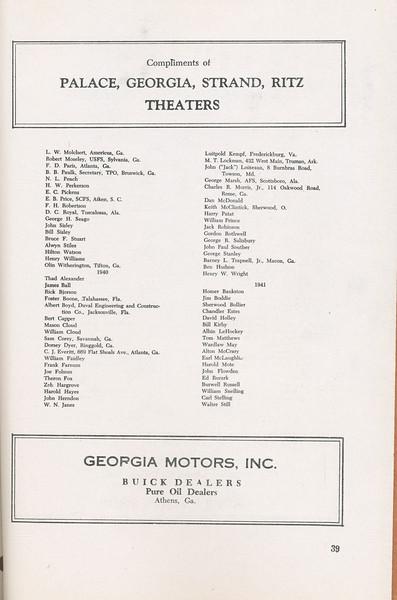 The Cypress Knee, 1946, Alumni Directory, Palace-Georgia-Strand-Ritz Theaters, Georgia Motors Inc., pg. 39