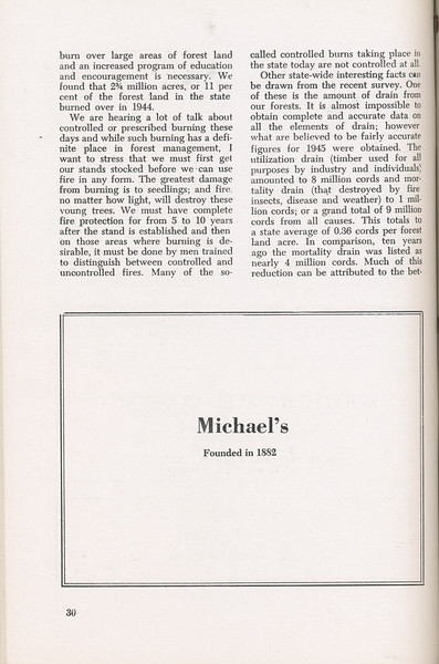"""The Cypress Knee, 1946, """"A Report on the Georgia Forest Survey"""" (continued), Michael's, pg. 30"""