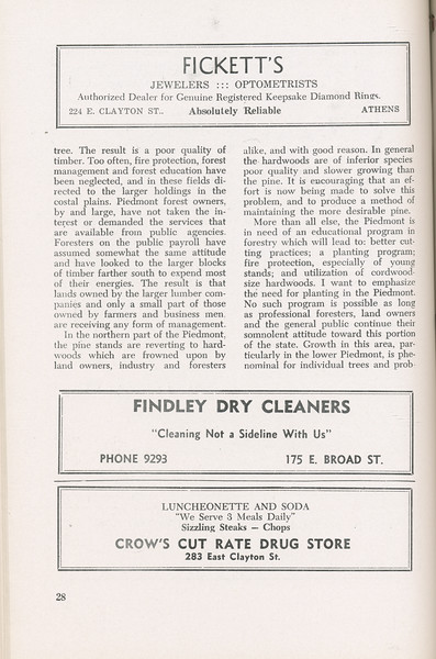 """The Cypress Knee, 1946, """"A Report on the Georgia Forest Survey"""" (continued), B. F. Grant, Fickett's Jewelers and Optometrists, Findly Dry Cleaners, Crow's Cut Rate Drug Store, pg. 28"""
