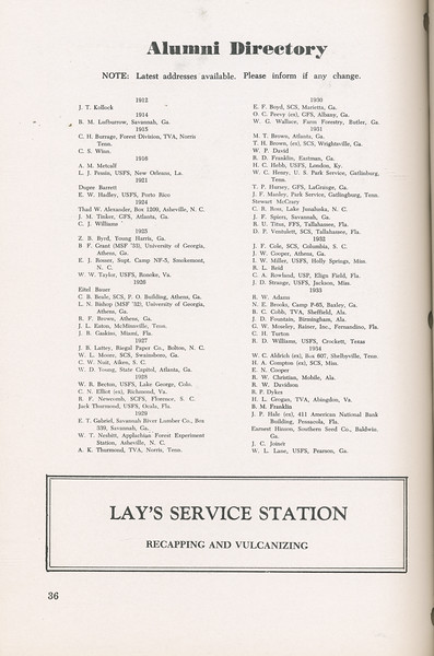 The Cypress Knee, 1946, Alumni Directory, Lay's Service Station, pg. 36
