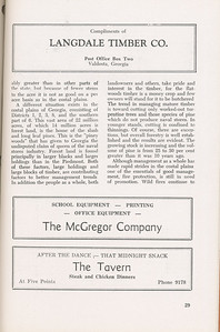 """The Cypress Knee, 1946, """"A Report on the Georgia Forest Survey"""" (continued), Langdale Timber Co., The McGregor Company, The Tavern, pg. 29"""