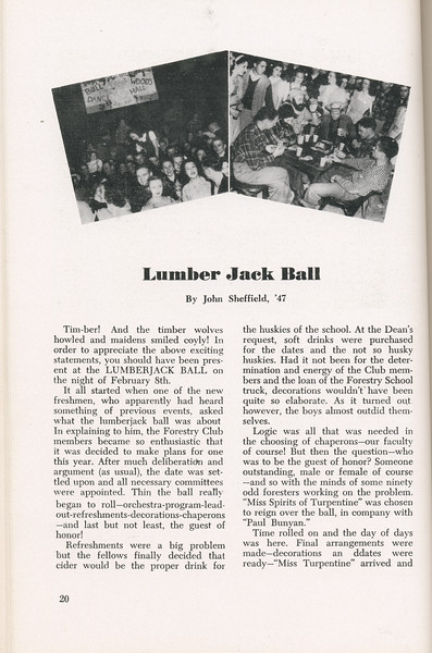 "The Cypress Knee, 1946, ""Lumber Jack Ball"", John Sheffield, pg. 20"