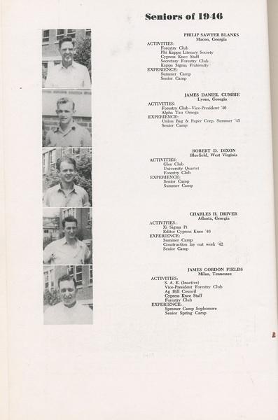The Cypress Knee, 1946, Seniors, Philip Sawyer Blanks, James Daniel Cumbie, Robert D. Dixon, Charles H. Driver, James Gordon Fields, pg. 08