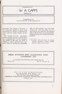 """The Cypress Knee, 1946, """"A Report on the Georgia Forest Survey"""" (continued), W.A. Capps, Citizen's Pharmacy, New Athens Dry Cleaning Co., At-Fa Gum Turpentine, pg. 35"""