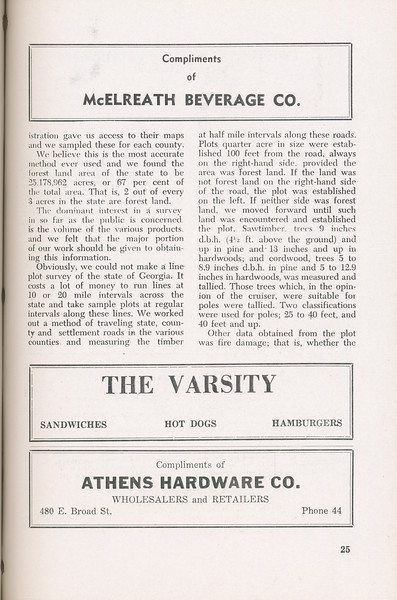 """The Cypress Knee, 1946, """"A Report on the Georgia Forest Survey"""" (continued), B. F. Grant, McElreath Beverage Co., The Varsity, Athens Hardware Co., pg. 25"""