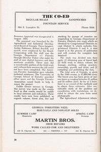 """The Cypress Knee, 1946, """"A Report on the Georgia Forest Survey"""" (continued), B. F. Grant, The Co-Ed, Martin Bros., pg. 24"""