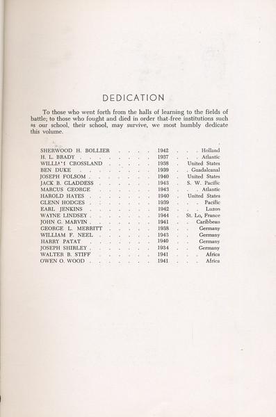 The Cypress Knee, 1946, Dedication, pg. 5