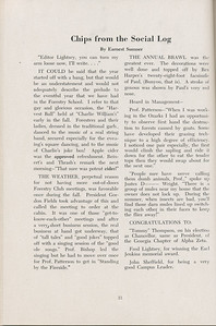 """The Cypress Knee, 1947, """"Chips from the Social Log"""", Earnest Sumner, pg. 21"""