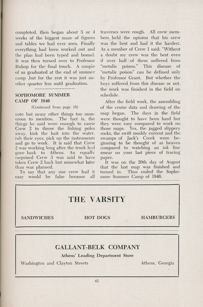 The Cypress Knee, 1947, Senior Camp (continued), Sophomore Summer Camp of 1946, The Varsity Gallant-Belk Company, pg. 42