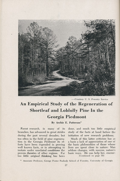 "The Cypress Knee, 1947, ""An Empirical Study of the Regeneration of Shortleaf and Loblolly Pine in the Georgia Piedmont"", Archie E. Patterson, pg. 27"