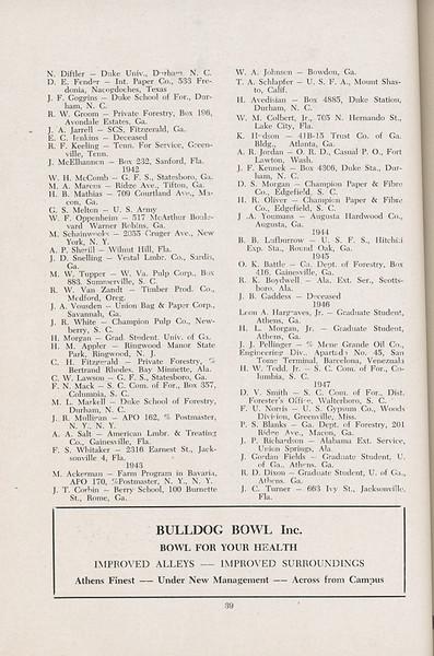 The Cypress Knee, 1947, Alumni Directory, Bulldog Bowl Inc., pg. 39