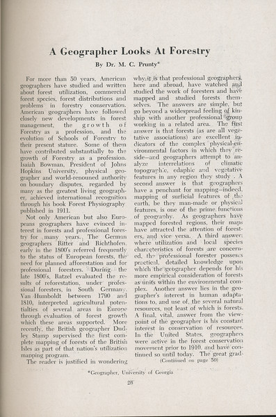 "The Cypress Knee, 1947, ""A Geographer Looks at Forestry"", Dr. M. C. Prunty, pg. 26"
