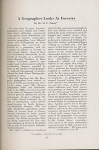 """The Cypress Knee, 1947, """"A Geographer Looks at Forestry"""", Dr. M. C. Prunty, pg. 26"""