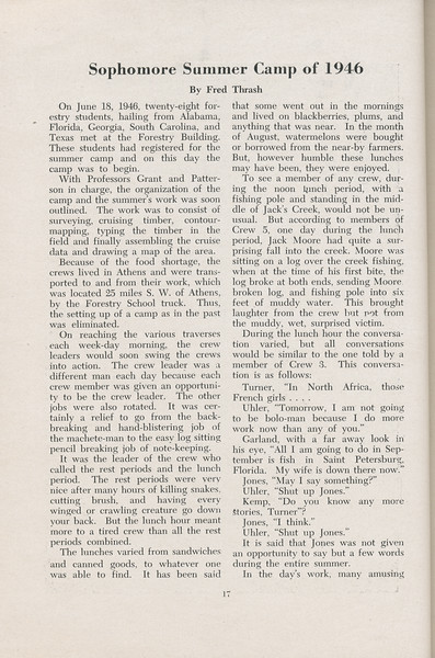 The Cypress Knee, 1947, Sophomore Summer Camp of 1946, Fred Thrash, pg. 17