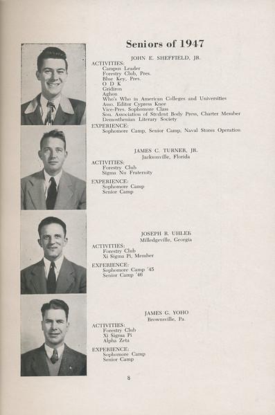 The Cypress Knee, 1947, Seniors of 1947, John E. Sheffield, James C. Turner, Joseph R. Uhler, James G. Yoho, pg. 8