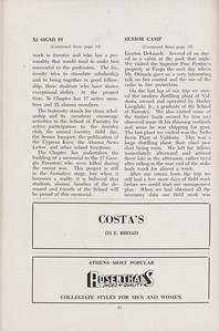The Cypress Knee, 1947, Xi Sigma Pi (continued), Senior Camp (continued), Costa's, Rosenthals Shoes of Quality, pg. 41