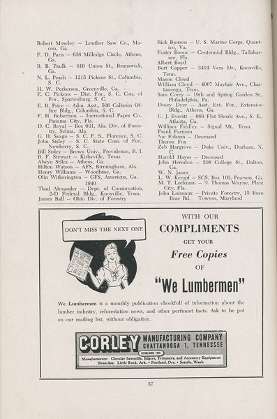 The Cypress Knee, 1947, Alumni Directory, We Lumbermen, pg. 37