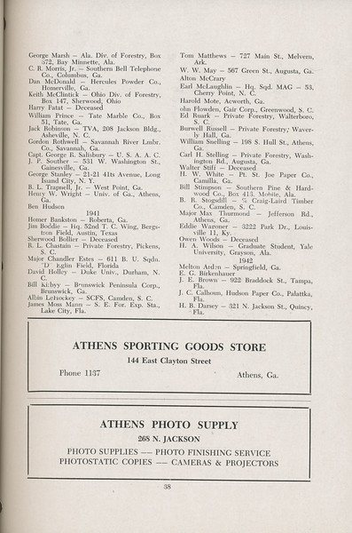 The Cypress Knee, 1947, Alumni Directory, Athens Sporting Good Store, Athens Photo Supply, pg. 38