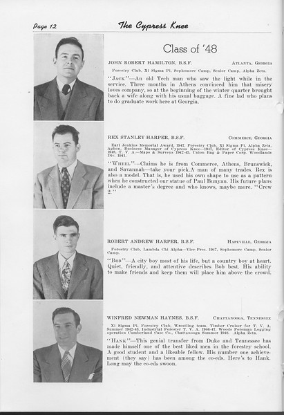 The Cypress Knee, 1948, Class of '48, John Robert Hamilton, Rex Stanley Harper, Robert Andrew Harper, Winfred Newman Haynes, pg. 12