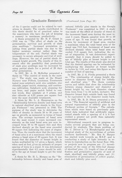 "The Cypress Knee, 1948, ""Graduate Research"" (continued), pg. 58"