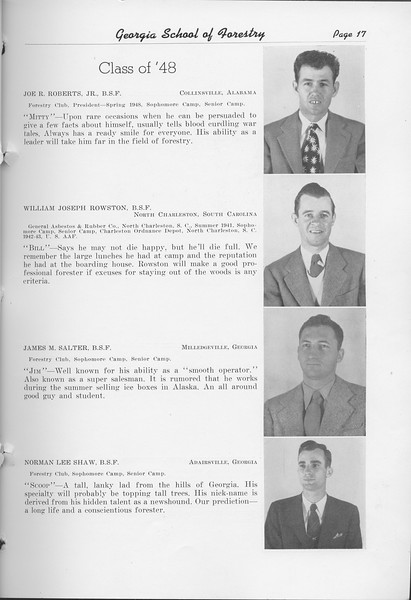 The Cypress Knee, 1948, Class of '48, Joe R. Roberts, William Joseph Rowston, James M Salter, Norman Lee Shaw, pg. 17
