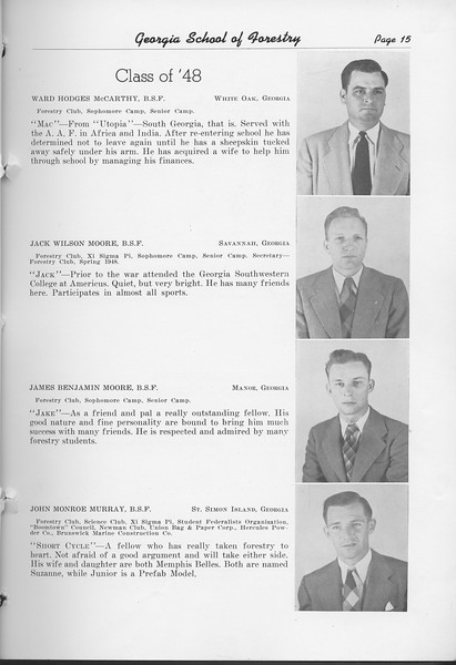 The Cypress Knee, 1948, Class of '48, Ward Hodges McCarthy, Jack Wilson Moore, James Benjamin Moore, John Monroe Murray, pg. 15