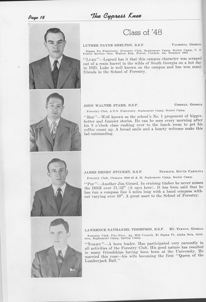The Cypress Knee, 1948, Class of '48, Luther Payne Shelton, John Walter Starr, James Henry Stuckey, Lawrence Nathaniel Thompson, pg. 18