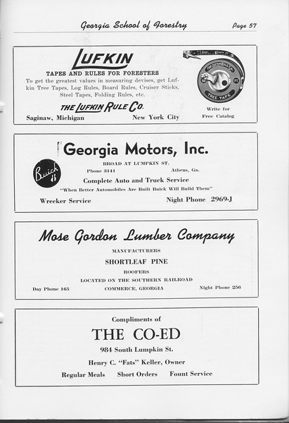 The Cypress Knee, 1948, The Lufkin Rule Co., Georgia Motors Inc., Mose Gordon Lumber Company, The Co-Ed, pg. 57