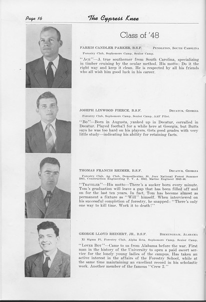 The Cypress Knee, 1948, Class of '48, Farris Candler Parker, Joseph Lindwood Pierce, Thomas Francis Reimer, George Lloyd Reinert, pg. 16