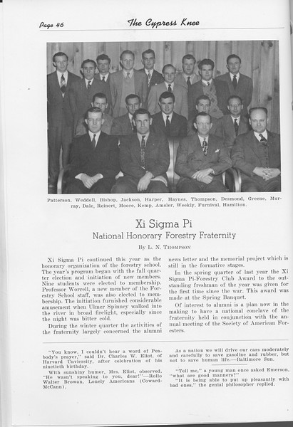 The Cypress Knee, 1948, Xi Sigma Pi, L. N. Thompson, pg. 46