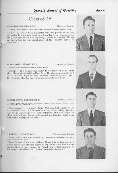 The Cypress Knee, 1948, Class of '48, James Harold Hill, James Joseph Hogan, Robert Burge Holder, Anothy S. Jensen, pg. 13
