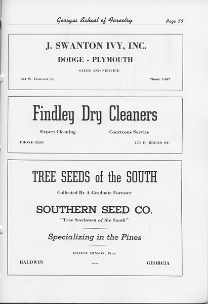 The Cypress Knee, 1948, J. Swanton Ivy Inc., Findley Dry Cleaners, Southern Seed Co., pg. 55