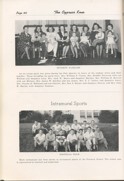 "The Cypress Knee, 1948, ""Student Families"", Intramural Sports, pg. 40"