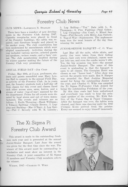 The Cypress Knee, 1948, Forestry Club News, Xi Sigma Pi Forestry Club Award, Charles O. Wike, pg. 43