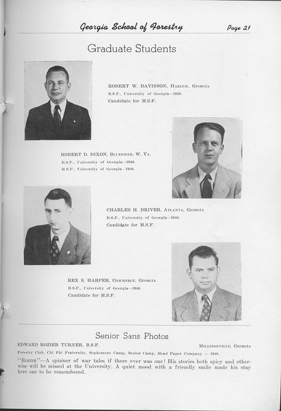 The Cypress Knee, 1948, Graduate Students, Robert W. Davisson, Robert D. Dixon, Charles H. Driver, Rex S. Harper, Senior Sans Photos- Edward Turner, pg. 21