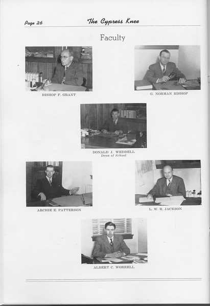 The Cypress Knee, 1948, Faculty, Bishop F. Grant, G. Norman, Donald J. Weddell, Archie E. Patterson, L. W. R. Jackson, Albert C. Worrell, pg. 26