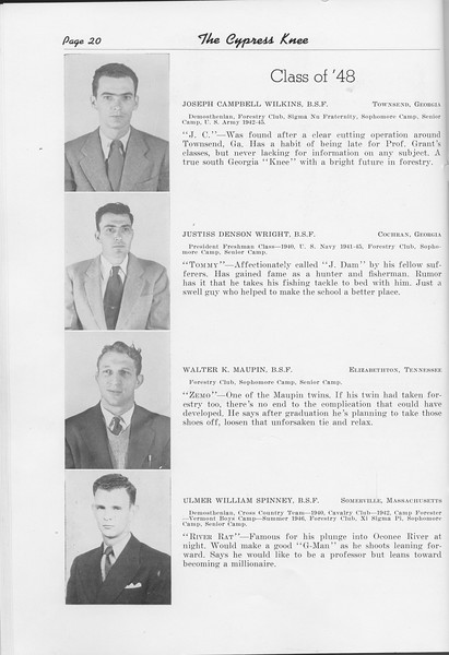 The Cypress Knee, 1948, Class of '48, Joseph Campbell Wilkins, Justiss Denson Wright, Walter K. Maupin, Ulmer William Spinney, pg. 20