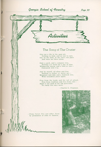 "The Cypress Knee, 1948, Introduction to Activities, ""The Song of the Crusier"", Charles G. Chapman, pg. 33"