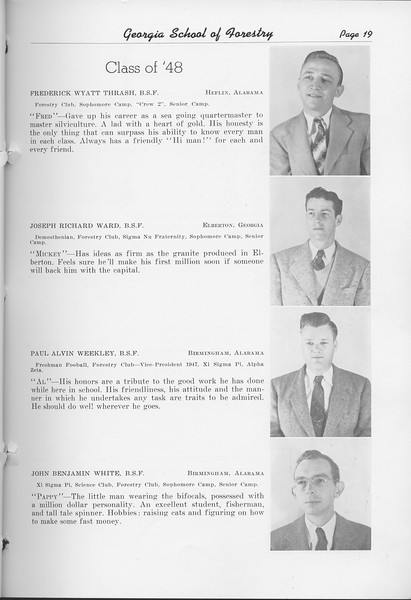 The Cypress Knee, 1948, Class of '48, Frederick Wyatt Thrash, Joseph Richard Ward, Paul Alvin Weekley, John Benjamin White, pg. 19
