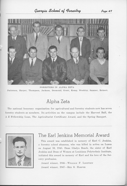 The Cypress Knee, 1948, Alpha Zeta, The Earl Jenkins Memorial Award, pg. 47