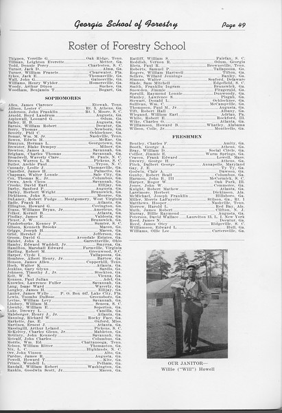 The Cypress Knee, 1948, Roster of Forestry School (continued), pg. 49