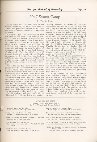 "The Cypress Knee, 1948, ""1947 Senior Camp"", Tom S. Camp, ""Naval Stores Song"", pg. 35"