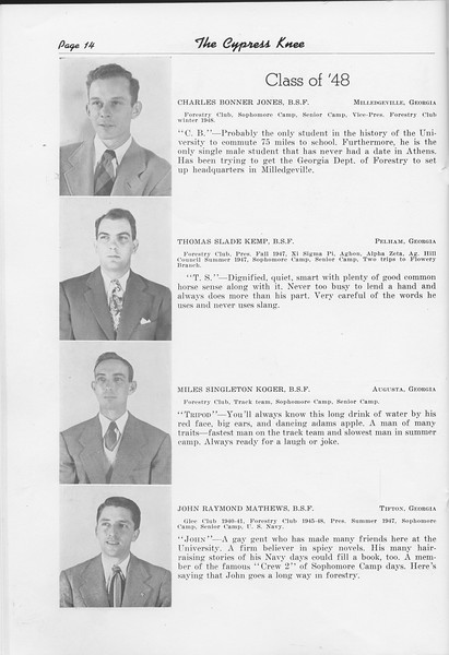 The Cypress Knee, 1948, Class of '48, Charles Bonner Jones, Thomas Slade Kemp, Miles Singleton Koger, John Raymond Matthews, pg. 14