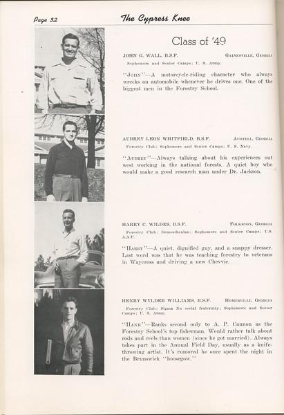 "The Cypress Knee, 1949, ""Class of '49"", John G. Wall, Aubrey Leon Whitfield, Harry C. Wildes, Henry Wylder Williams, pg. 32"