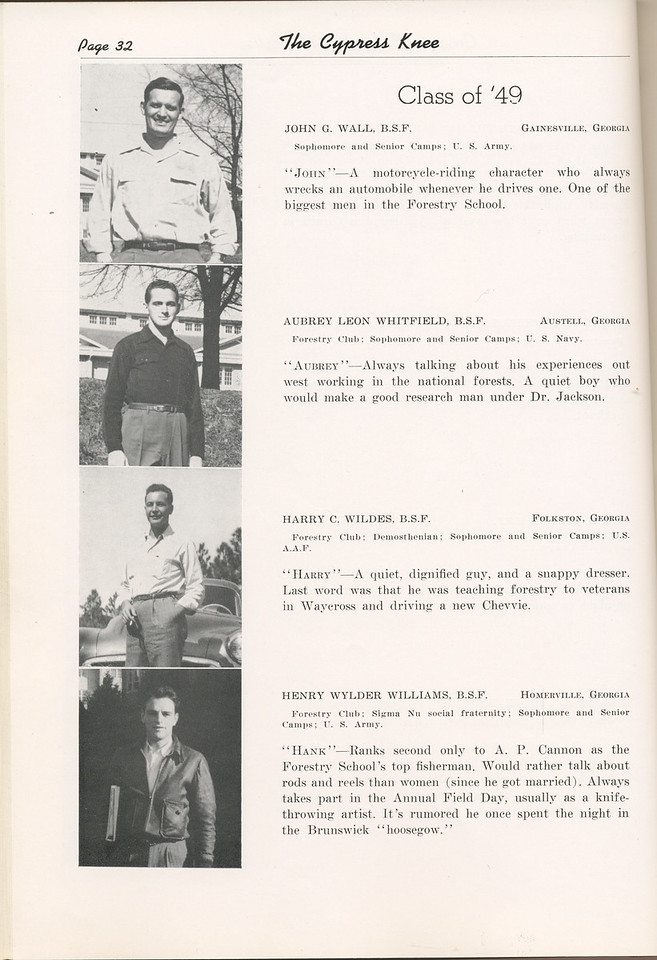 "The Cypress Knee, 1949, ""Class of '49"", John G. Wall, Aubrey Leon Whitfield, Harry C. Wildes, Henry Wylder Williams, pg. 32"